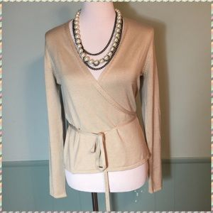 Banana Republic Silk Wrap Champagne Sweater M